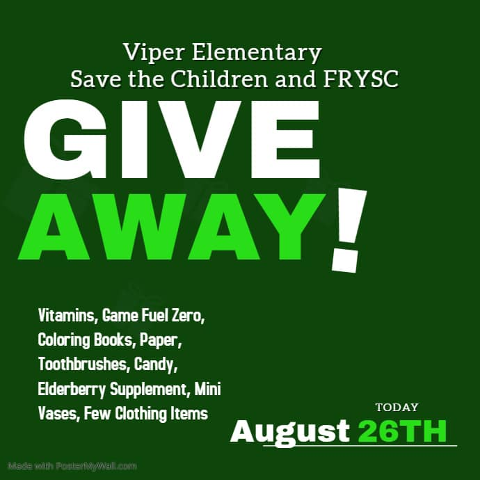 Viper FRYSC worked with Save the Children and CAP to provide numerous giveaways for…