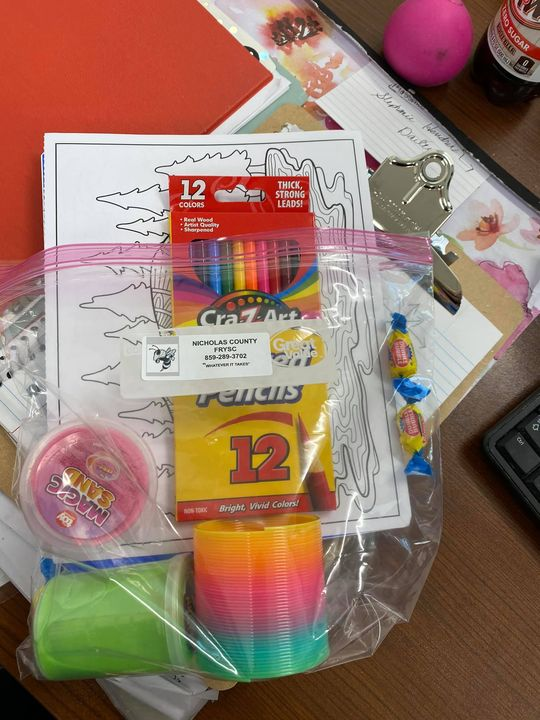 FRYSC Emotional Support Bags for students. ( Journal, pen, two coloring sheets, colored pencils,…